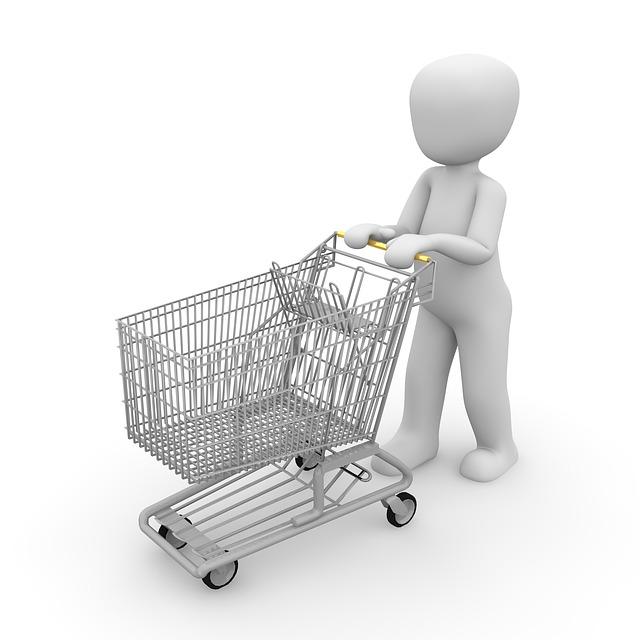 nákupní košík a panáček